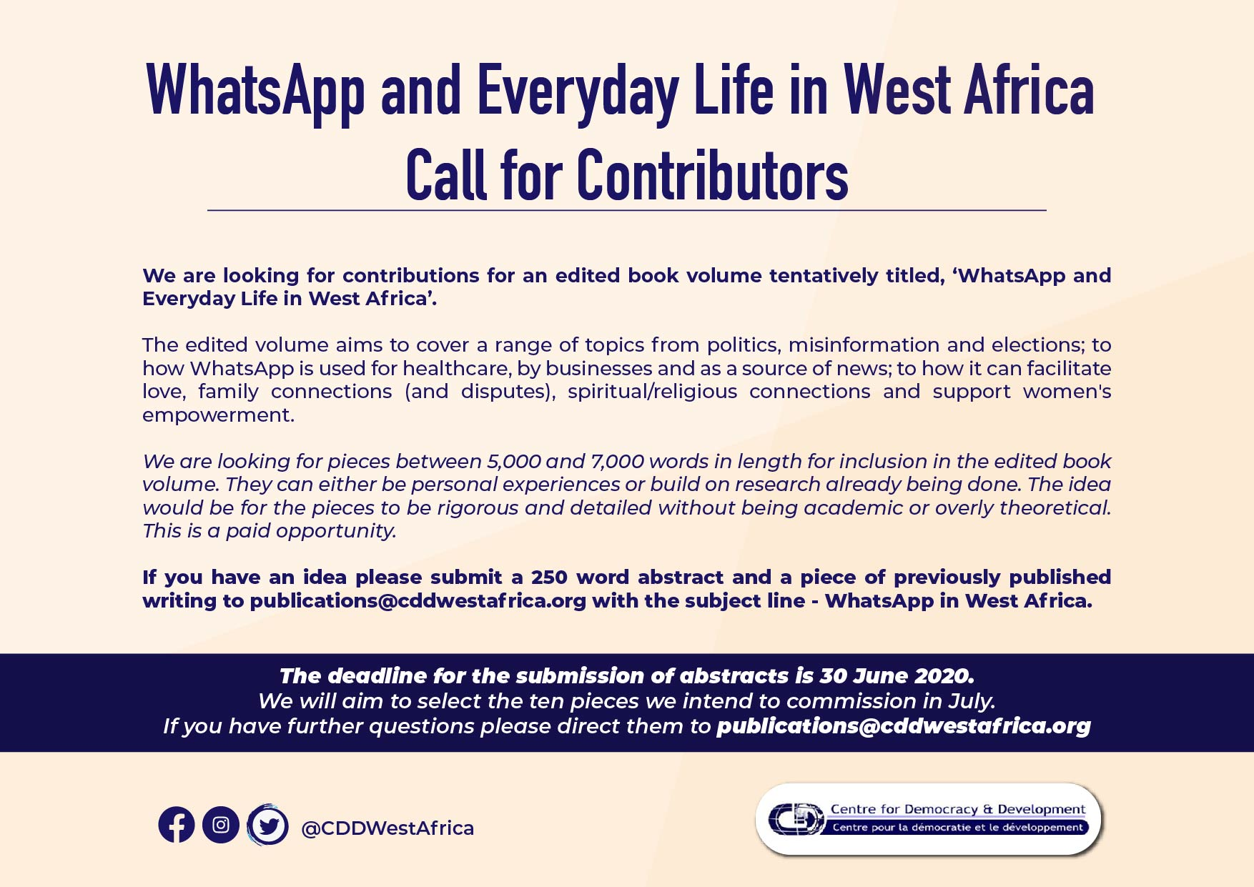 Call for Contributors CDD – WhatsApp and Everyday Life in West Africa